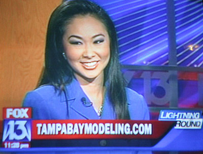Tampa model and entertainer Ann Poonkasem on FOX 13's Lightning Round for Tampa Bay Modeling on April 24, 2008.