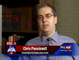 Modeling expert and photographer C. A. Passinault in one of his television interviews on FOX 13 for Tampa Bay Modeling.