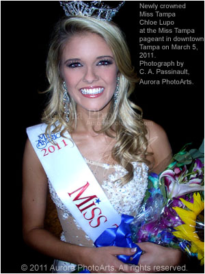 Chloe Lupo, Miss Tampa 2011, photographed by photographer C. A. Passinault. Also, here, for the first time, is the new Aurora PhotoArts watermarking format which will be used on all of the new Mosaic Class photography and design marketing and support web sites. Choice!