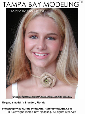 Megan, an aspiring Tampa Bay model, poses for a head shot during an Espy model testing session in Brandon, Florida, on September 6, 2003. Photographer C. A. Passinault. Espy is a model testing program by Aurora PhotoArts.